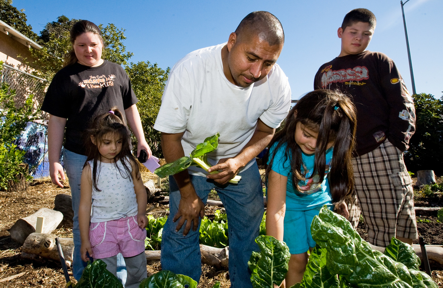 Family in community garden