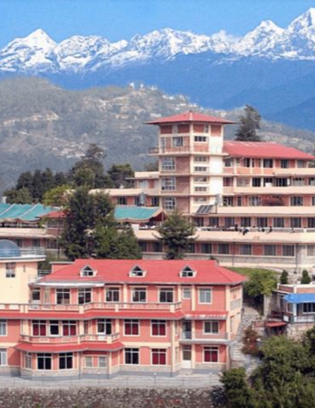 Nepalese buildings with white-capped mountains in the background
