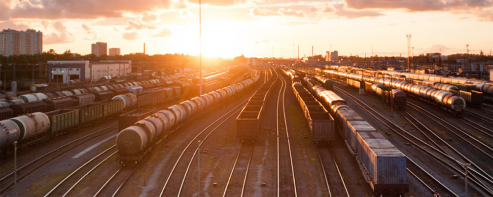 Freight Trains on tracks during sunset